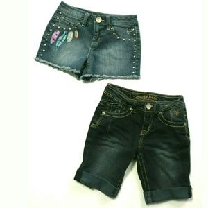 Justice girls Bermuda long & studded short feather